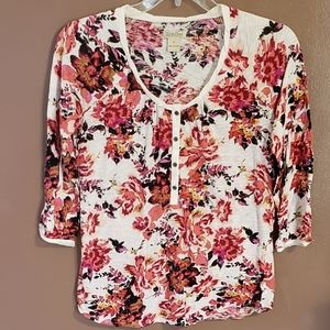 Lucky Brand Floral Top SZ M